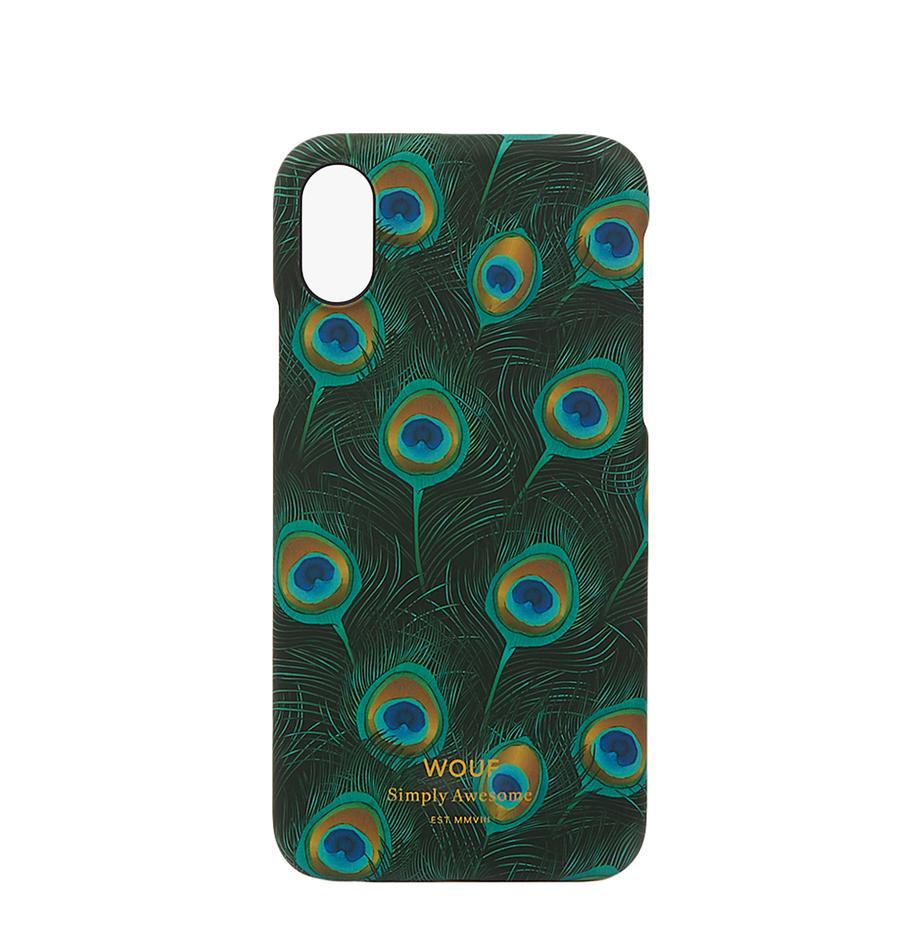 Hülle Peacock für iPhone X, Silikon, Schwarz, Mehrfarbig, 7 x 15 cm