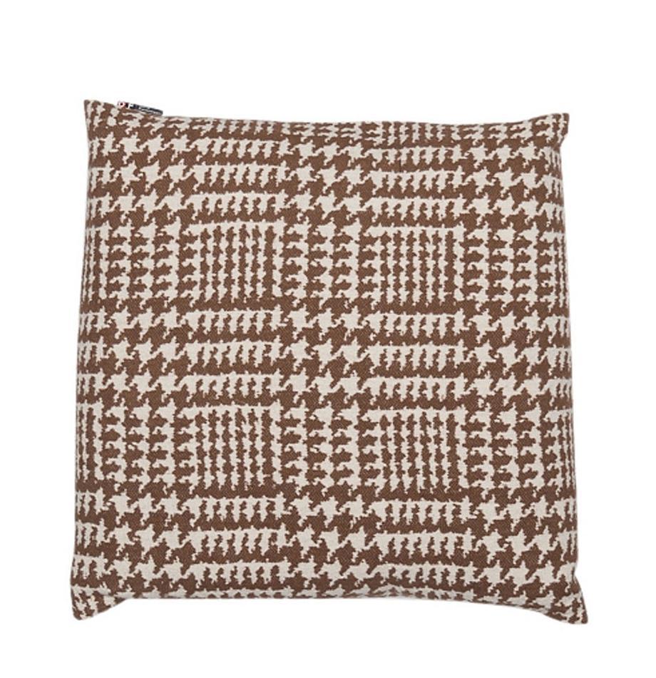 Poduszka z wypełnieniem Glencheck, Tapicerka: 85% bawełna, 8% wiskoza, , Brązowy, biały, S 50 x D 50 cm