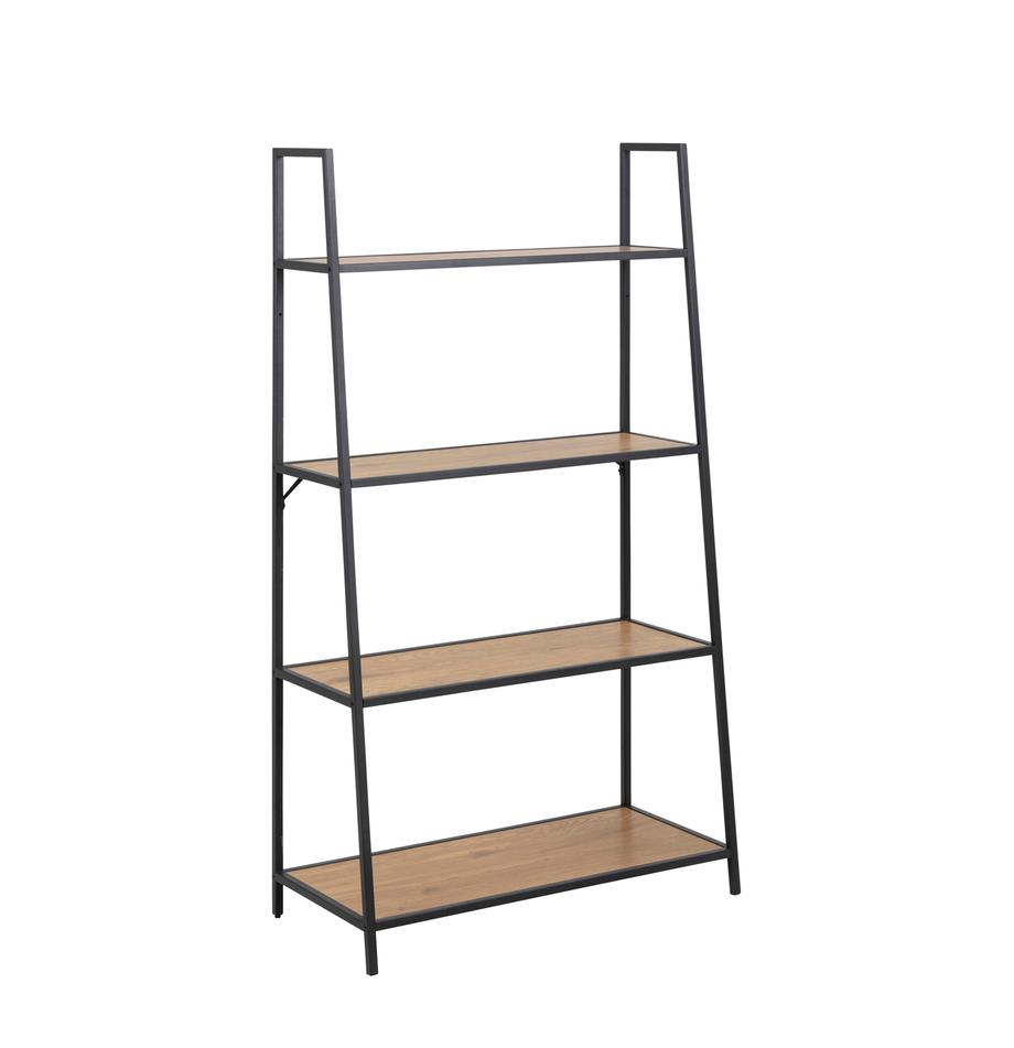 Libreria in legno e metallo Seaford, Ripiani: pannello di fibra a media, Struttura: metallo verniciato a polv, Nero, Larg. 77 x Alt. 138 cm
