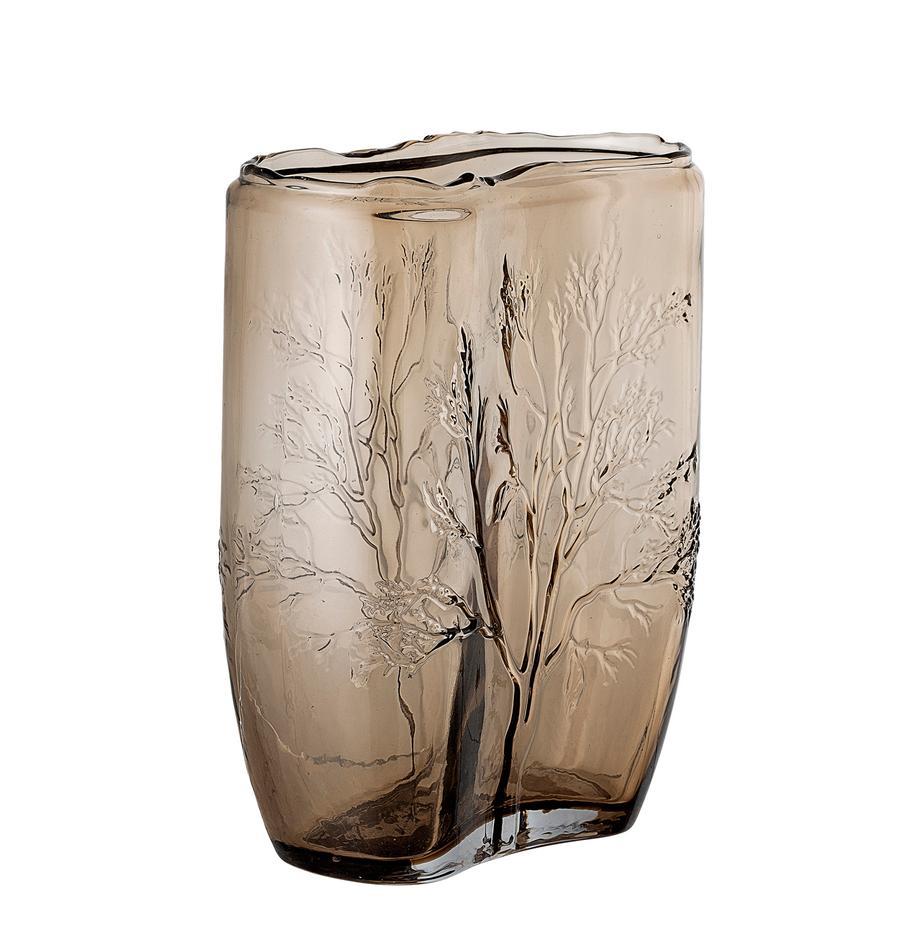 Vaso in vetro Tree, Vetro, Marrone trasparente, Ø 10 x Alt. 26 cm