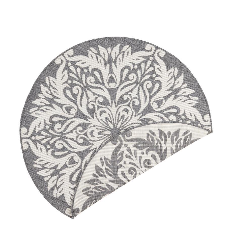 Okrągły dwustronny dywan wewnętrzny/zewnętrzny Madrid, Szary, kremowy, Ø 140 cm (Rozmiar M)