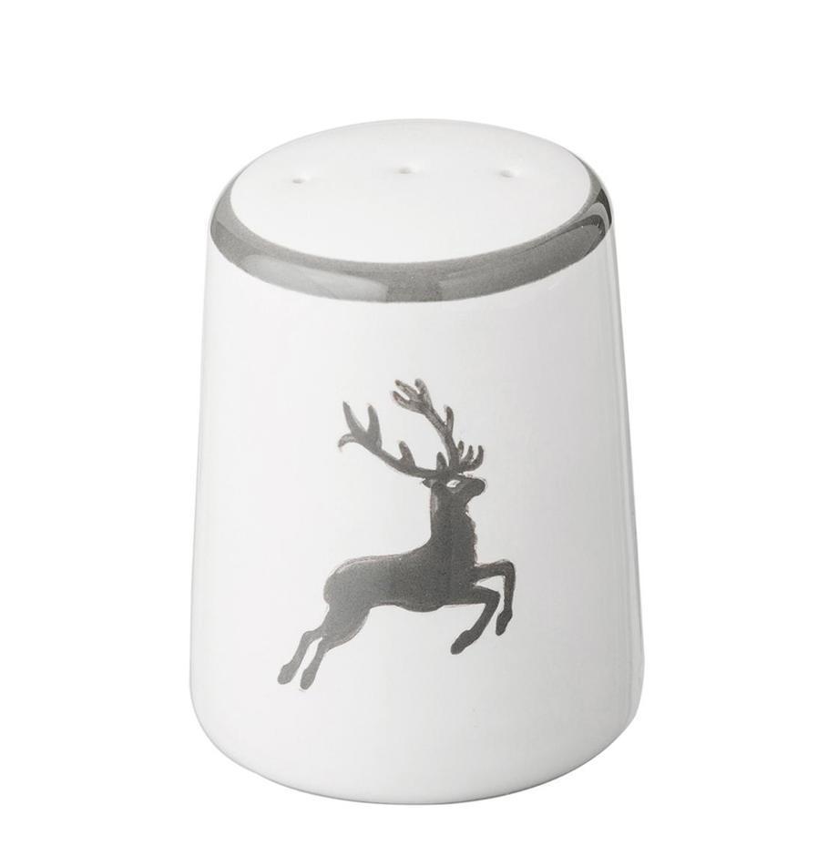 Pepiera dipinta a mano Classic Grauer Hirsch, Ceramica, Grigio, bianco, 4 x 6 cm
