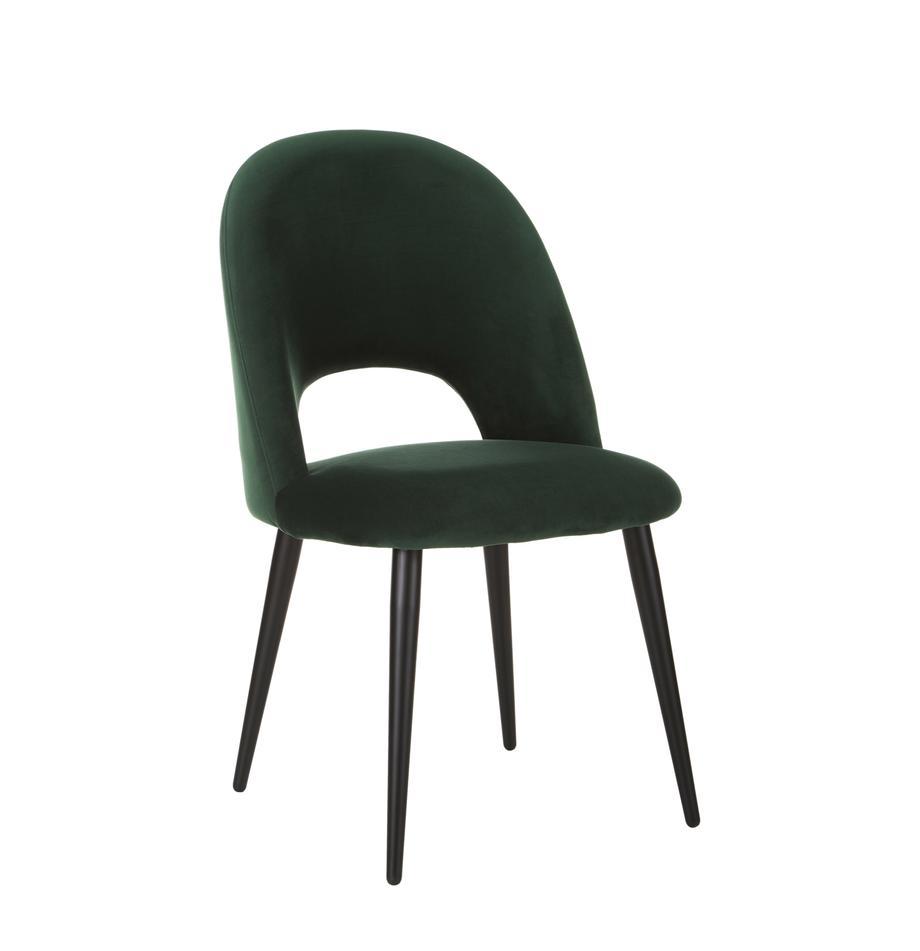 Fluwelen stoel Rachel in donkergroen, Bekleding: fluweel (hoogwaardig poly, Poten: gepoedercoat metaal, Donkergroen, B 53 x D 57 cm
