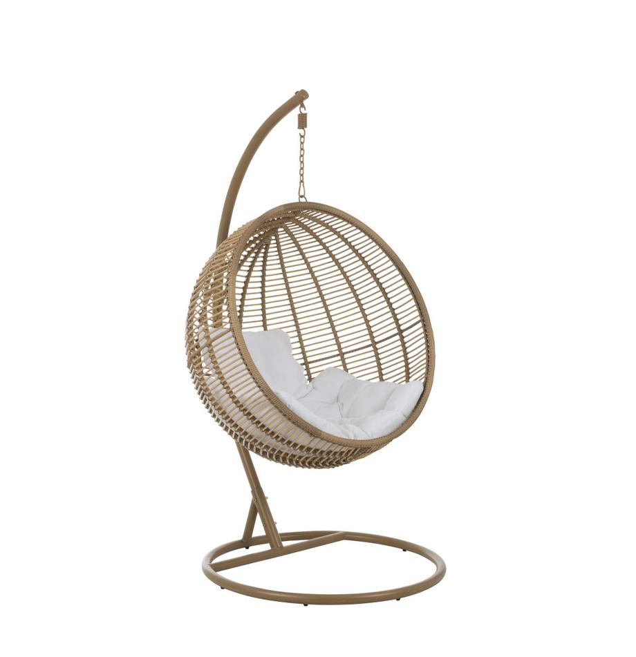 Poltrona sospesa Round, Marrone, bianco, Larg. 119 x Alt. 193 cm