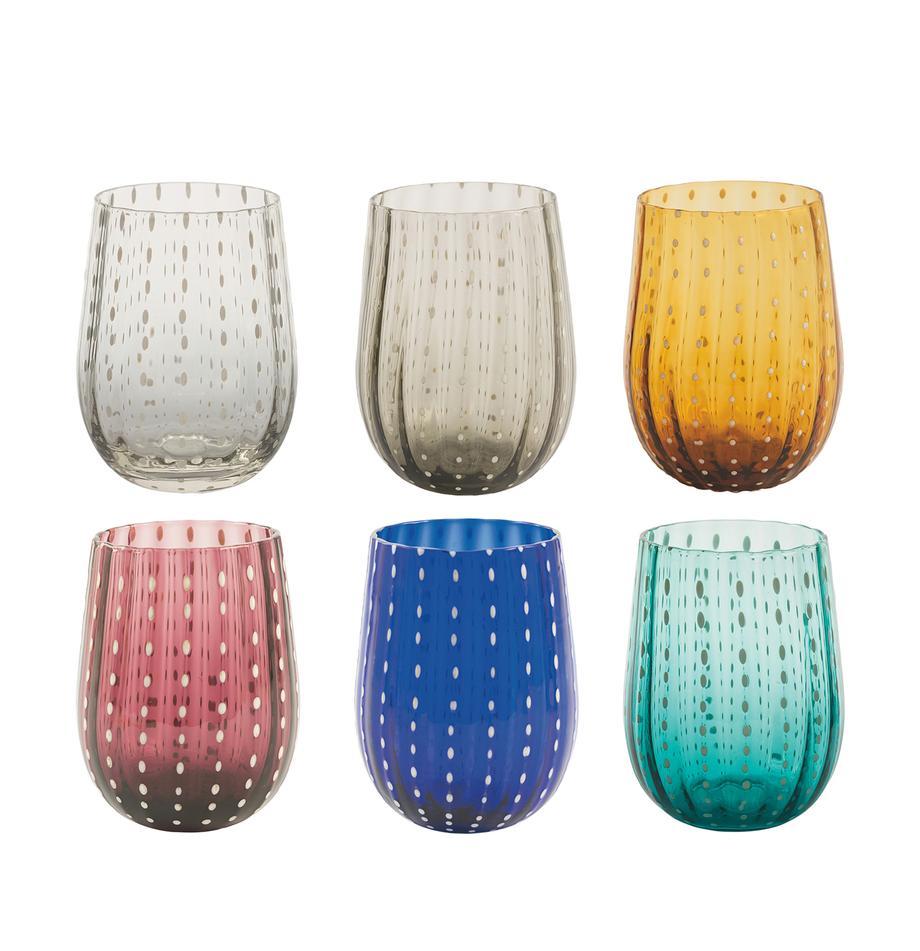 Komplet szklanek do wody Shiraz, 6 elem., Szkło, Wielobarwny, Ø 7 x W 11 cm