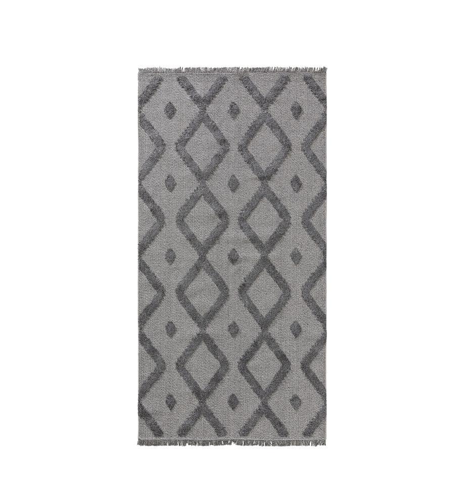 Dywan z bawełny z frędzlami Oslo, 100% bawełna, Szary, melanżowy, S 75 x D 150 cm (Rozmiar XS)