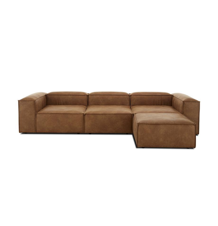 Sofa modułowa narożna ze skóry z recyklingu Lennon, Tapicerka: skóra z recyklingu (70% s, Nogi: tworzywo sztuczne, Brązowy, S 326 x G 207 cm