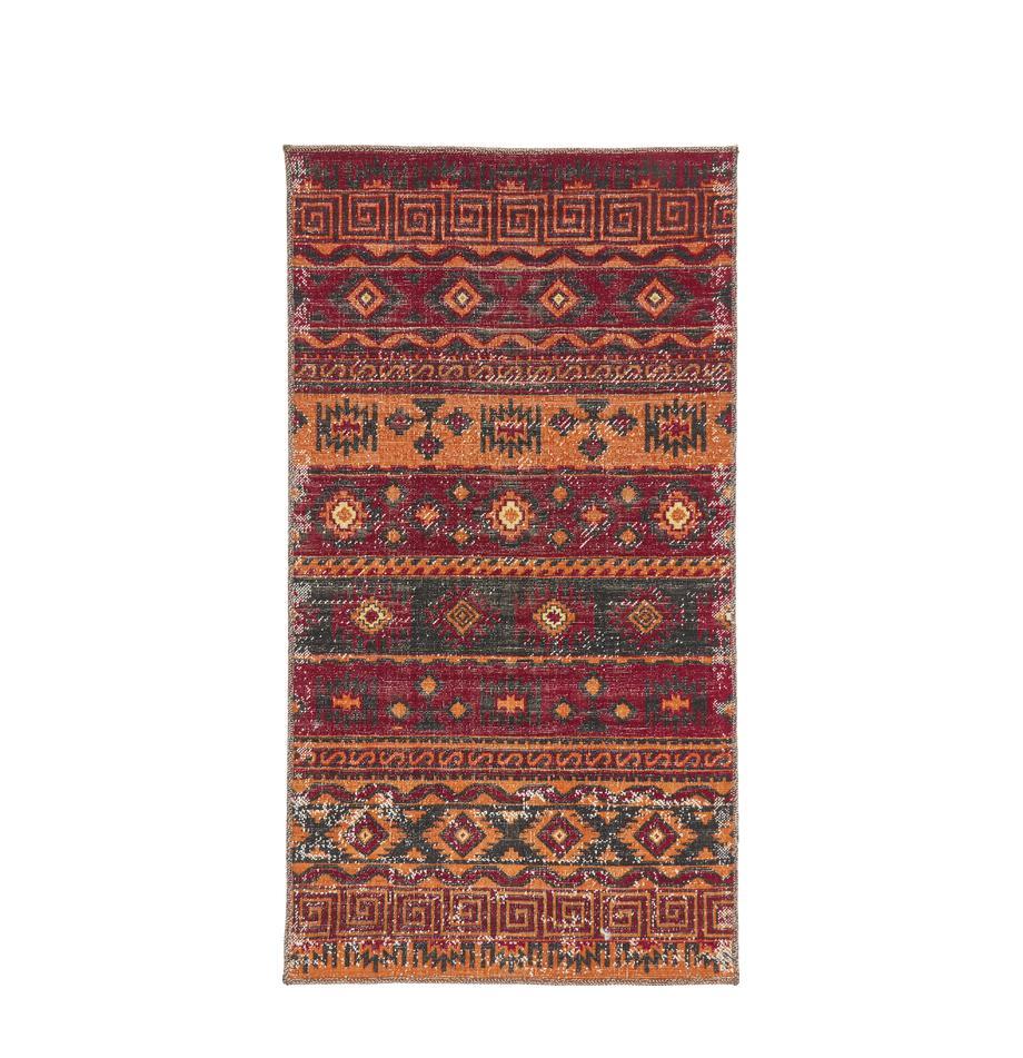 Tappeto vintage da interno-esterno Tilas Istanbul, Rosso scuro, giallo senape, kaki, Larg. 80 x Lung. 150 cm (taglia XS)