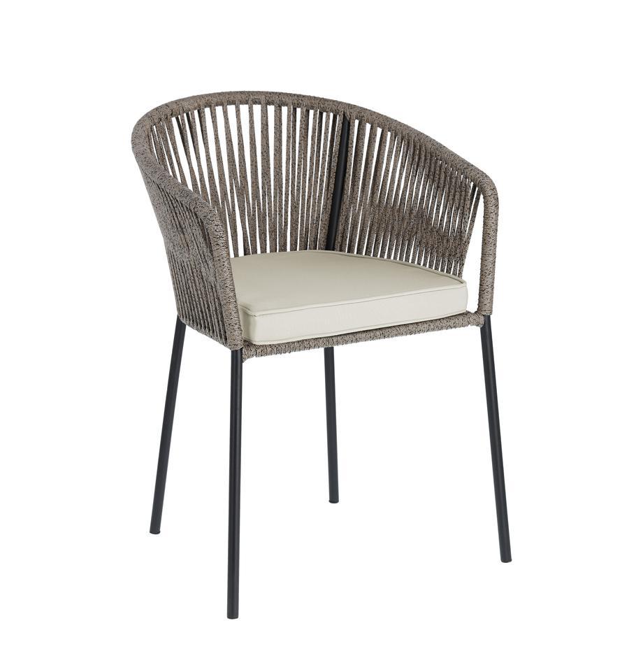 Krzesło ogrodowe Yanet, Stelaż: metal ocynkowany i lakier, Tapicerka: poliester, Szary, S 56 x G 51 cm