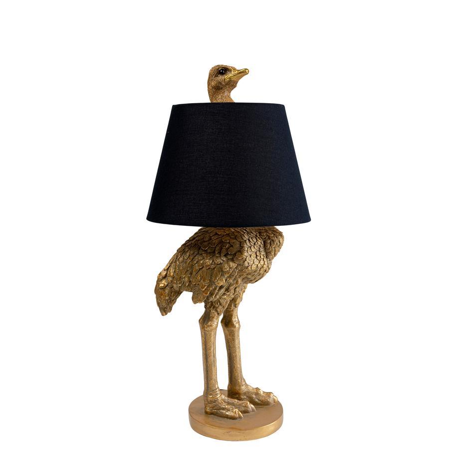 Große handgefertigte Tischlampe Ostrich, Lampenfuß: Polyresin, Lampenschirm: Baumwolle, Hanf, Messingfarben, Ø 30 x H 69 cm