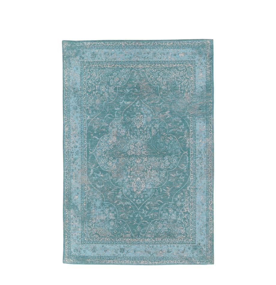 Alfombra artesanal de chenilla Palermo, estilo vintage, Parte superior: 95%algodón, 5%poliéster, Reverso: 100%algodón, Turquesa, azul claro, crema, An 120 x L 180  cm(Tamaño S)