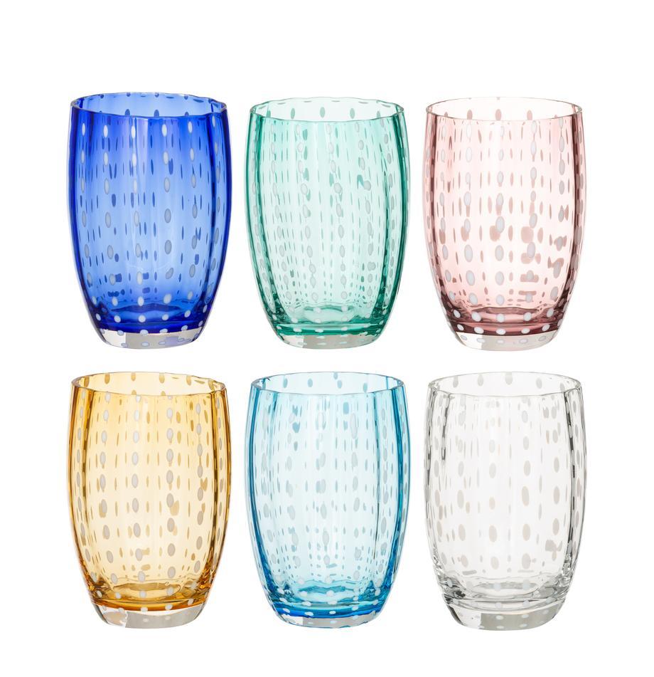 Mundgeblasene Wassergläser Perle, 6er-Set, Glas, Transparent, Weiss, Aqua, Bernsteinfarben, Pastellviolett, Rot und Grün, Ø 7 x H 11 cm