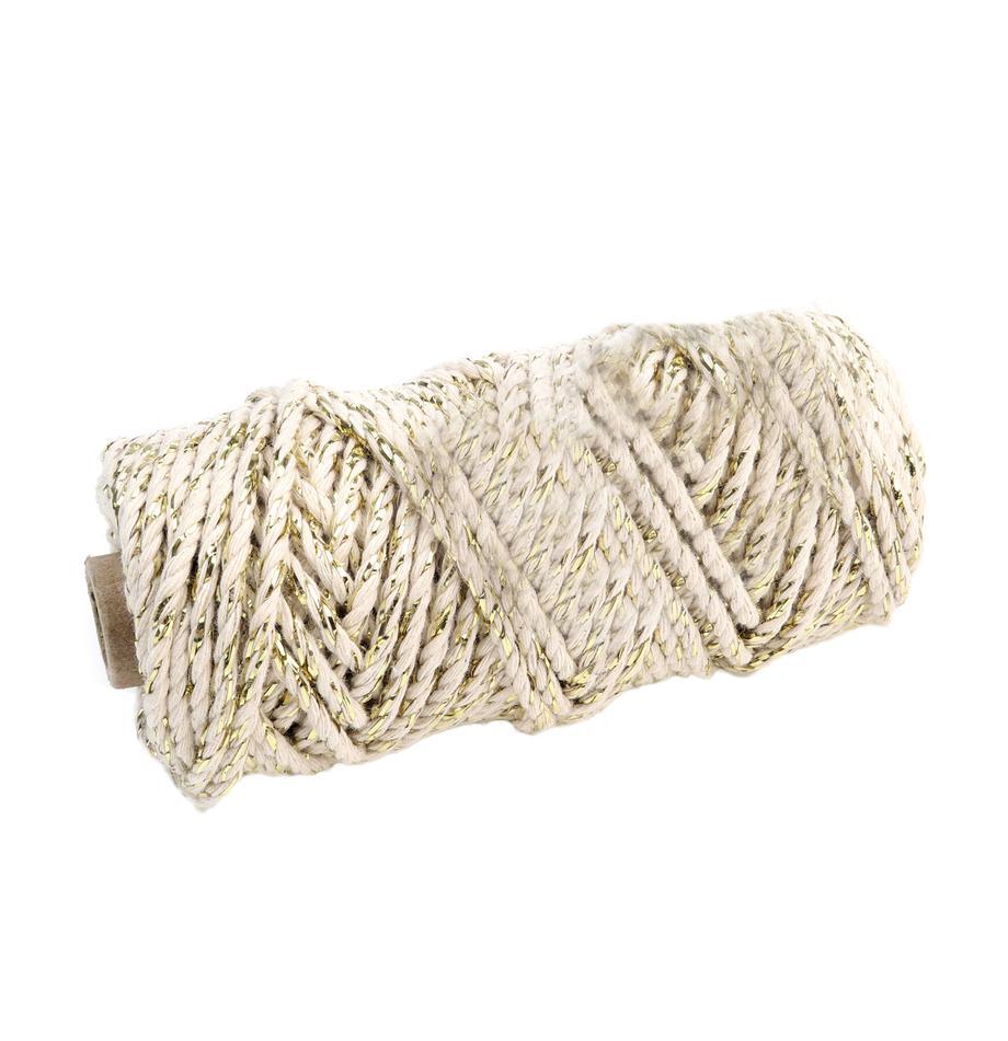 Geschenkdraad Twist, Katoen met Lurex draden, Beige, goudkleurig, L 25 cm
