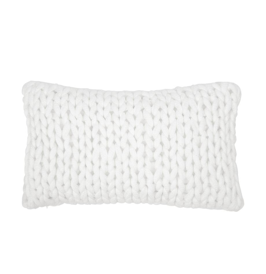 Poszewka na poduszkę z grubej dzianiny Adyna, 100% poliakryl, Kremowobiały, S 30 x D 50 cm