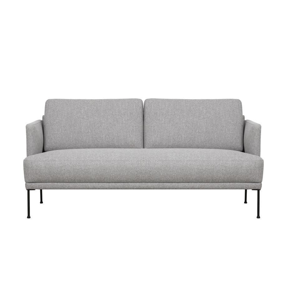 Sofa Fluente (2-Sitzer) in Hellgrau mit Metall-Füßen, Bezug: 80% Polyester, 20% Ramie , Gestell: Massives Kiefernholz, Füße: Metall, pulverbeschichtet, Webstoff Muster, B 166 x T 85 cm