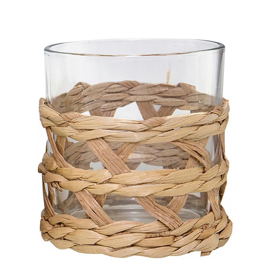 Wassergläser Osier mit stilvollem Grasgeflecht, 4er-Set, Dekor: Grasgeflecht, Transparent, Braun, Ø 9 x H 10 cm