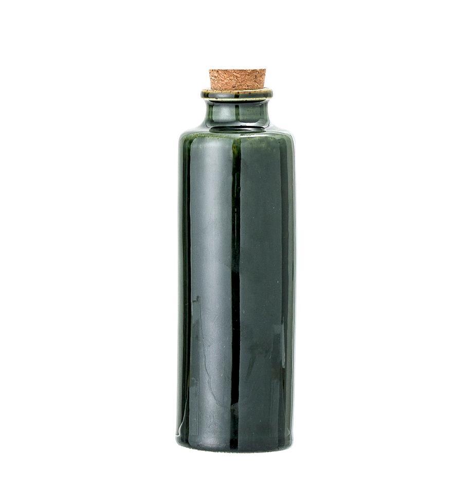 Aceitera o vinagrera artesanal Joelle, Verde oscuro, Ø 6 x Al 18 cm