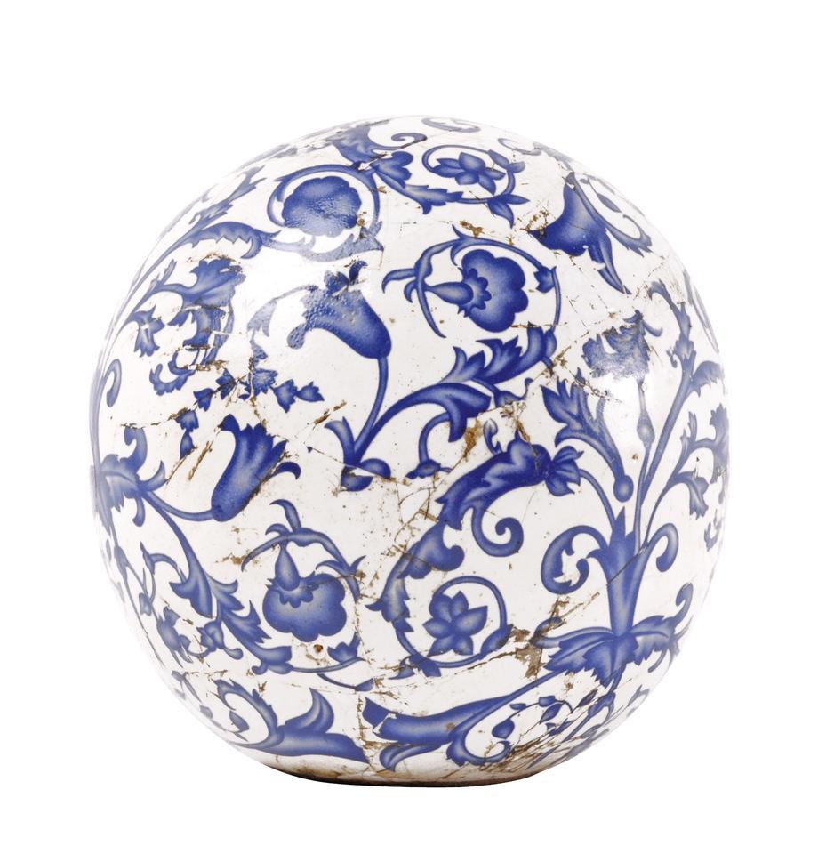 Deko-Objekt Cerino aus Keramik, Keramik, Blau, Weiß, Ø 13 x H 13 cm