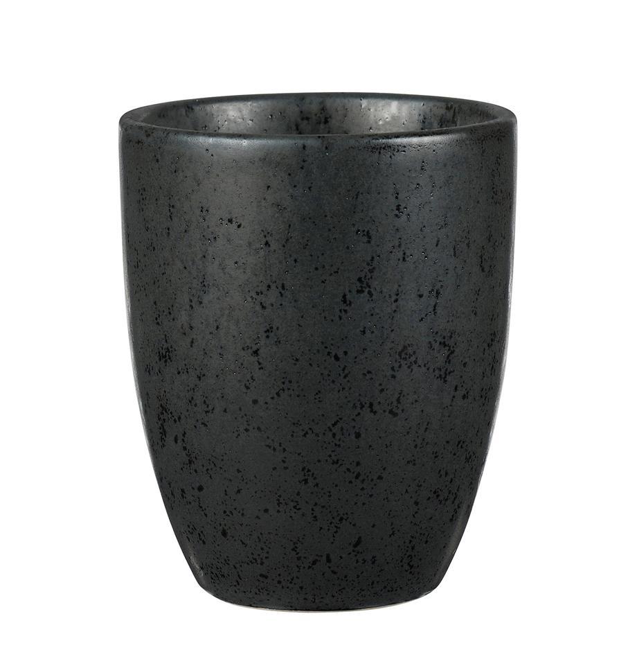 Tazas de gres Stone, 2uds., Gres esmaltado, Negro, Ø 8 x Al 10 cm