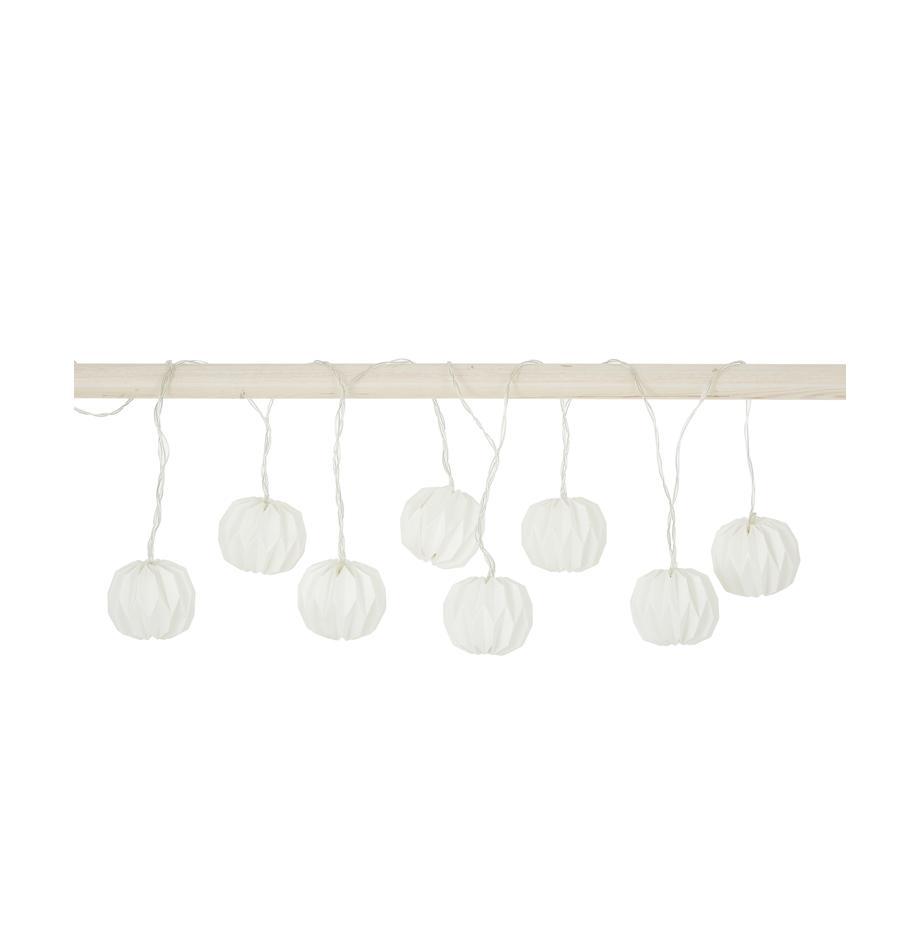 LED-Lichterkette Hanami, 259 cm, Papier, Metall, Kunststoff (PVC), Weiss, L 259 cm
