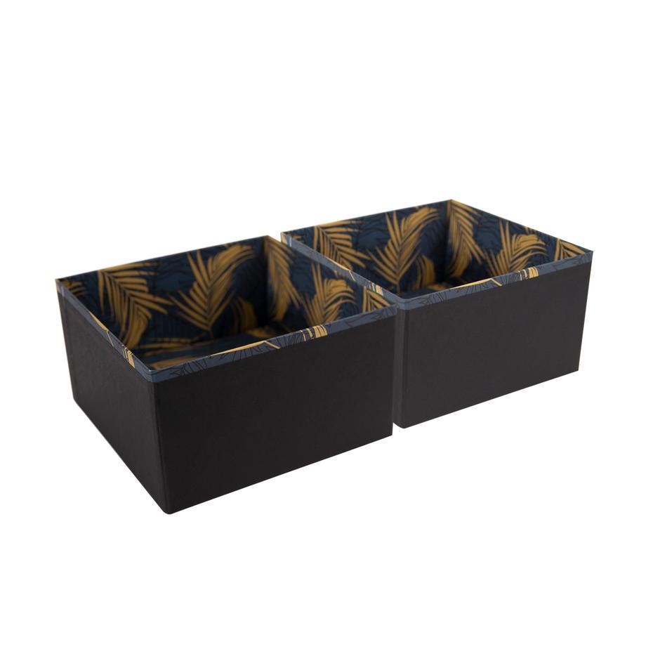Organizers Drawer, 2stuks, Stevig, gelamineerd karton, Goudkleurig, grijsblauw, 18 x 10 cm