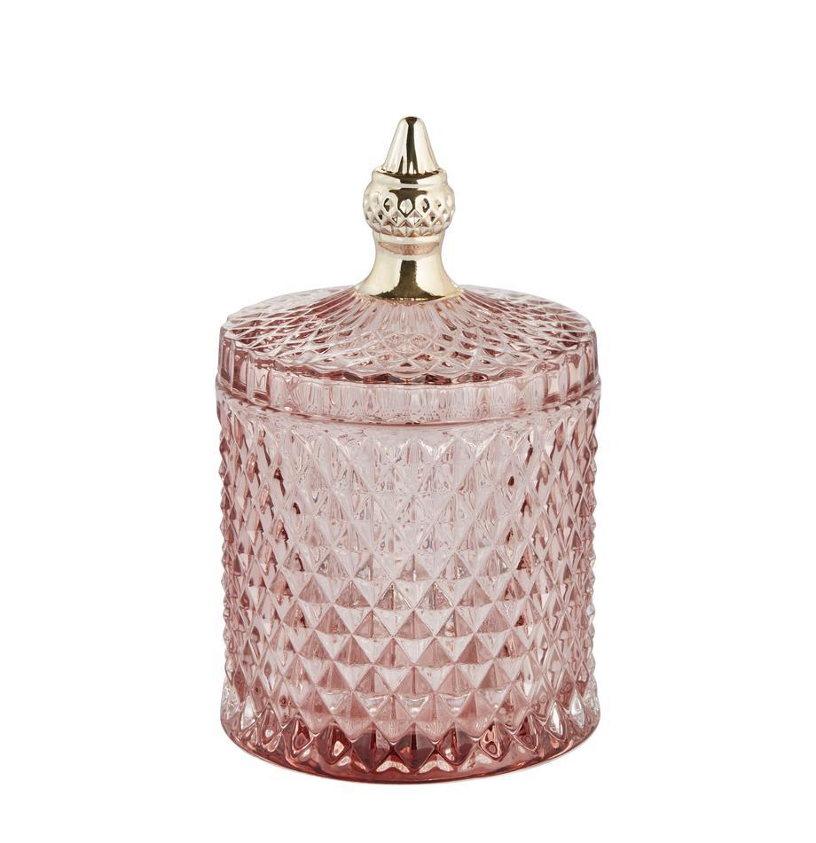 Aufbewahrungsdose Miya, Glas, Rosa, transparent, Goldfarben, Ø 10 x H 18 cm