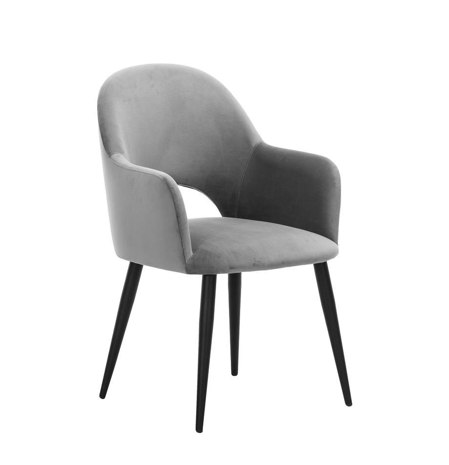 Sedia con braccioli in velluto Rachel, Rivestimento: velluto (poliestere) Con , Gambe: metallo verniciato a polv, Velluto grigio, Larg. 47 x Prof. 64 cm