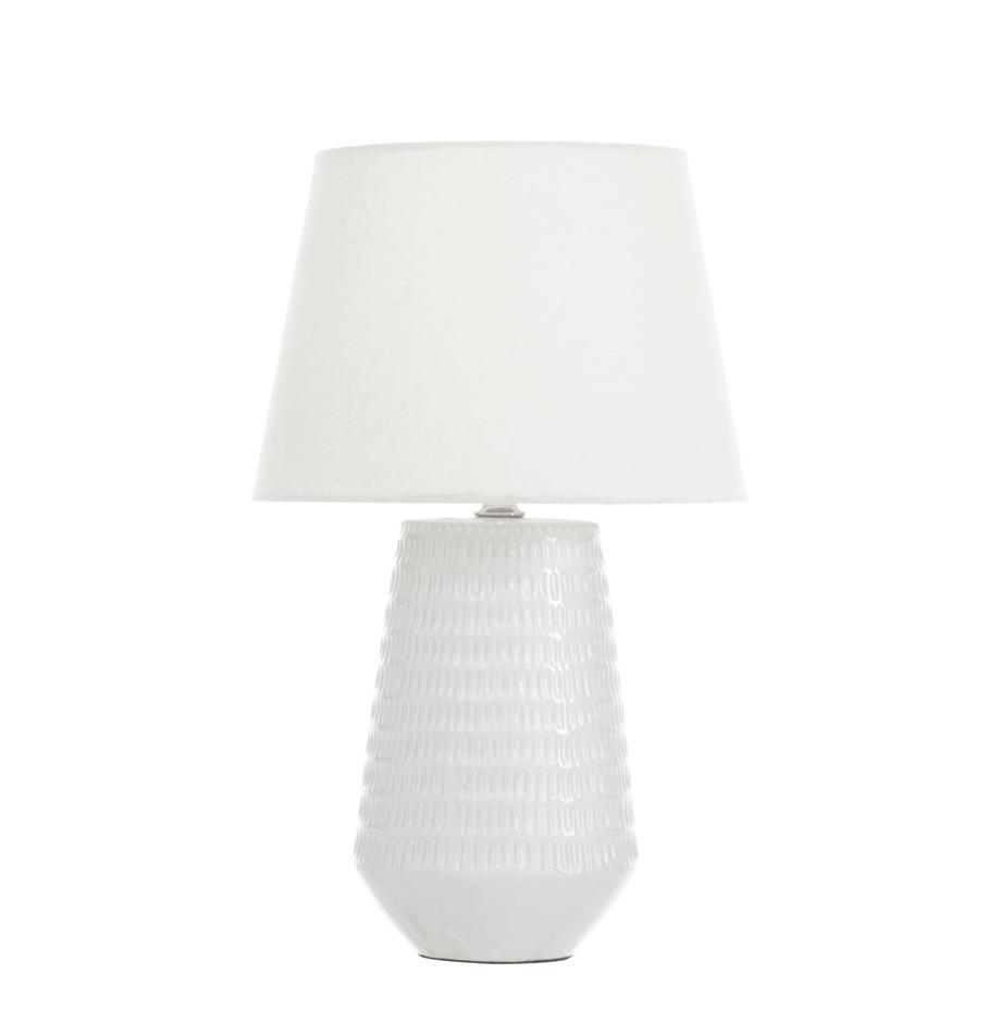 Lámpara de mesa de cerámica Mona, Pantalla: tela, Cable: plástico, Blanco, Ø 28 x Al 45 cm