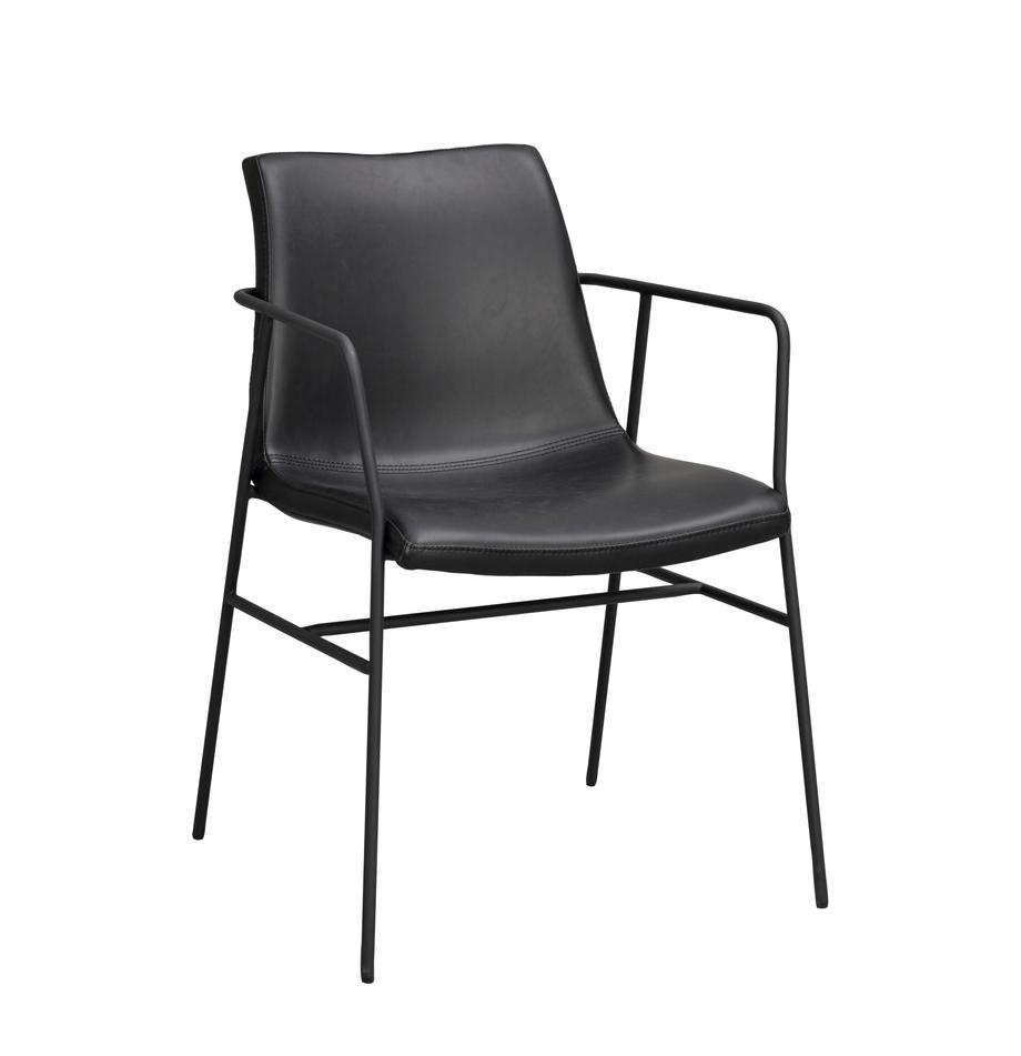 Krzesło z podłokietnikami Huntington, 2 szt., Tapicerka: sztuczna skóra, Stelaż: drewno warstwowe, Nogi: metal powlekany, Czarny, S 54 x G 58 cm