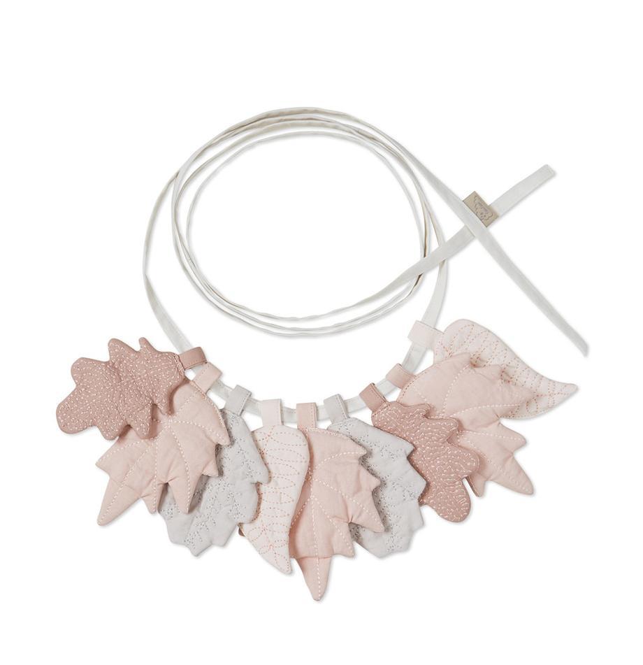 Girlande Leaves aus Bio-Baumwolle, 220 cm, Bezug: 100% Biobaumwolle, Öko-Te, Rosatöne, Grau, L 220 x H 12 cm