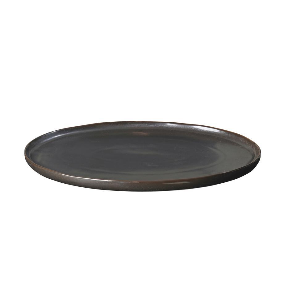 Handgemachte Servierplatte Esrum Night, L 39 x B 26 cm, Steingut, glasiert, Graubraun, matt silbrig schimmernd, 26 x 39 cm
