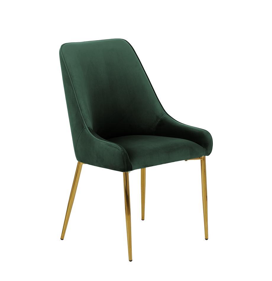 Fluwelen stoel Ava met goudkleurige poten, Bekleding: fluweel (100% polyester), Poten: gegalvaniseerd metaal, Fluweel donkergroen, B 55 x D 60 cm