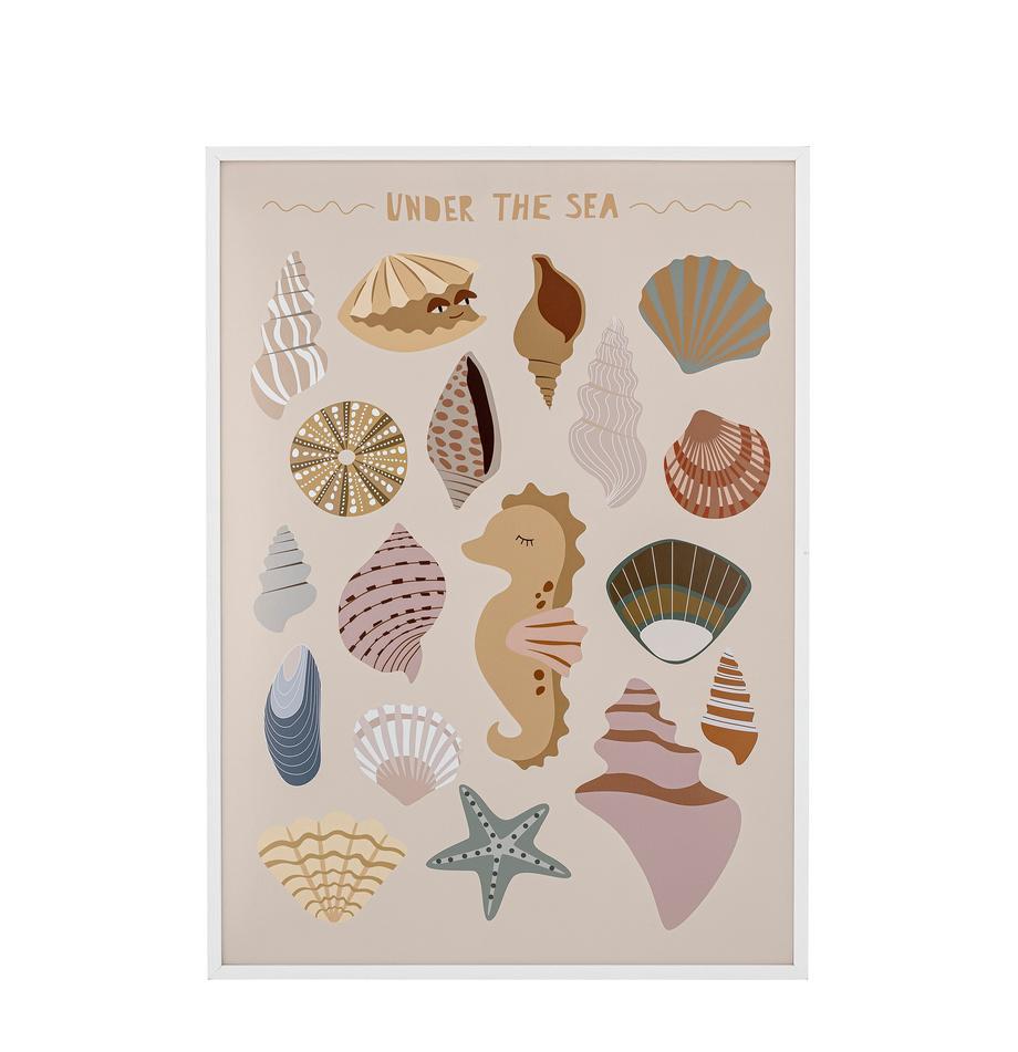 Gerahmter Digitaldruck Adile, Rahmen: Holz, beschichtet, Front: Plexiglas, Beige, Mehrfarbig, 52 x 72 cm