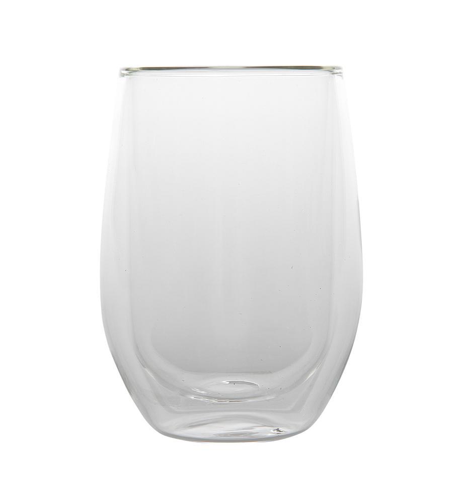 Doppelwandige Thermogläser Isolate, 2 Stück, Borosilikatglas, doppelwandig, Transparent, Ø 8 x H 13 cm