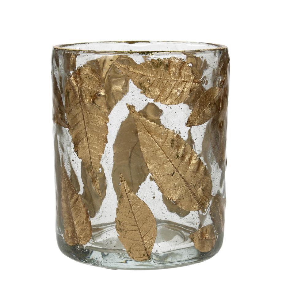 Portalumini Golden Leaf, Vetro, foglie, Trasparente, dorato, Ø 8 x Alt. 9 cm