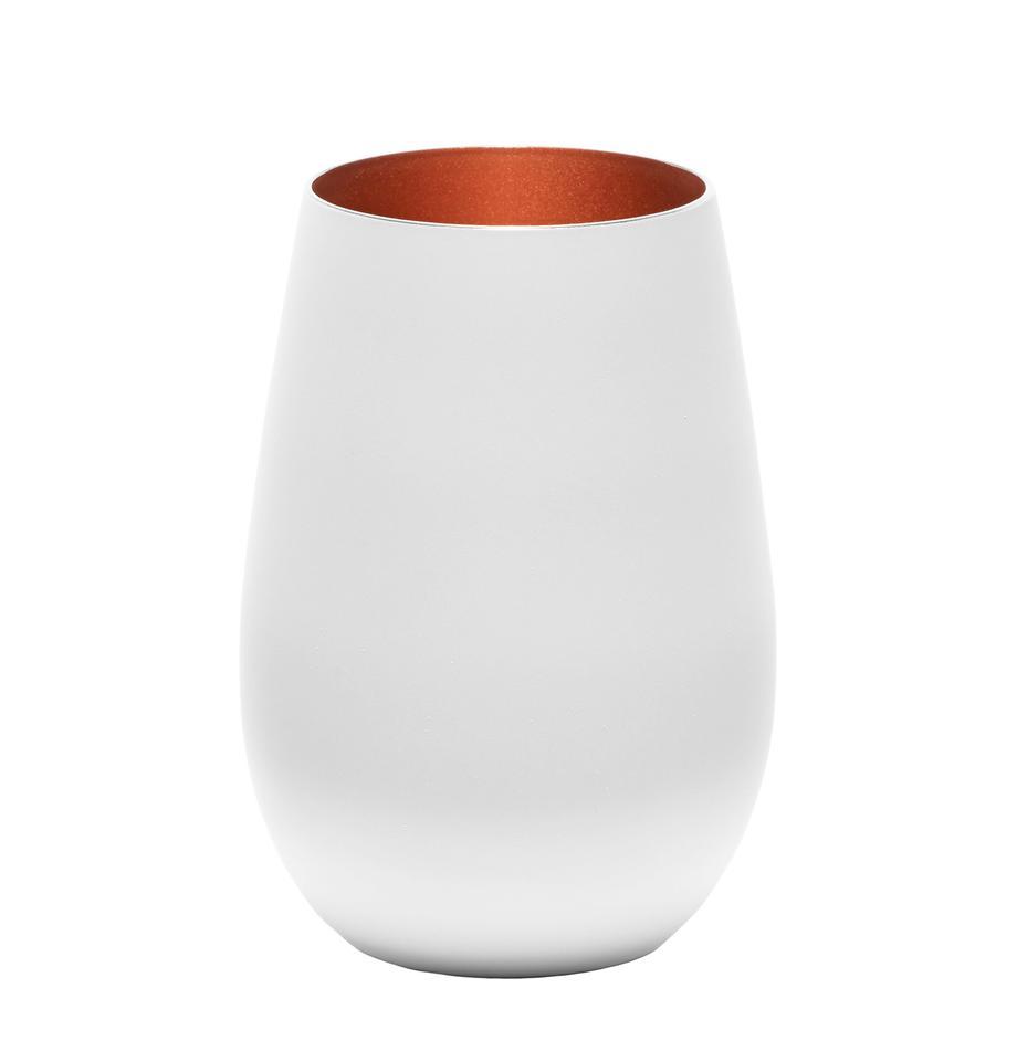 Bicchiere tipo long drink in cristallo Elements 6 pz, Cristallo rivestito, Bianco, bronzo, Ø 9 x Alt. 12 cm