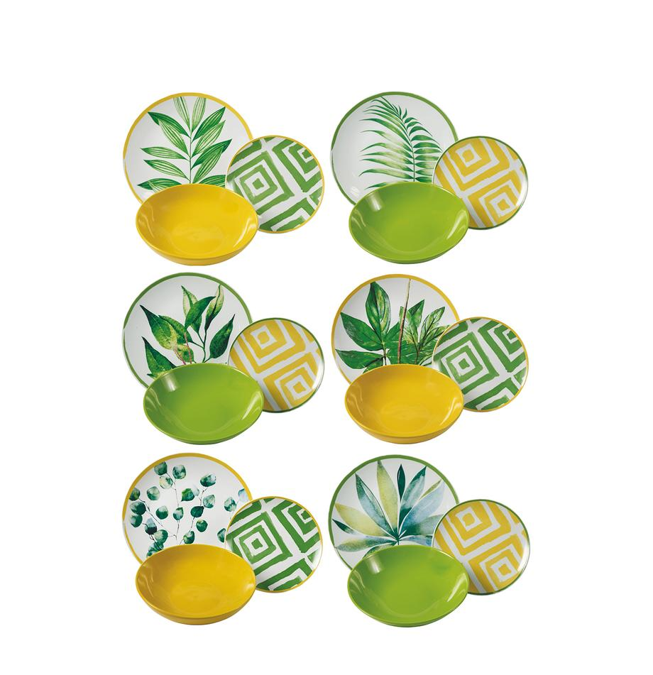 Vajilla Botanique, 6comensales (18pzas.), Verde, blanco, amarillo, Set de diferentes tamaños