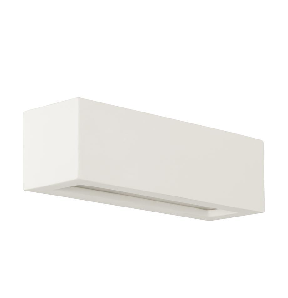 Applique in ceramica Madrid, Paralume: ceramica, Bianco crema, Larg. 32 x Alt. 9 cm
