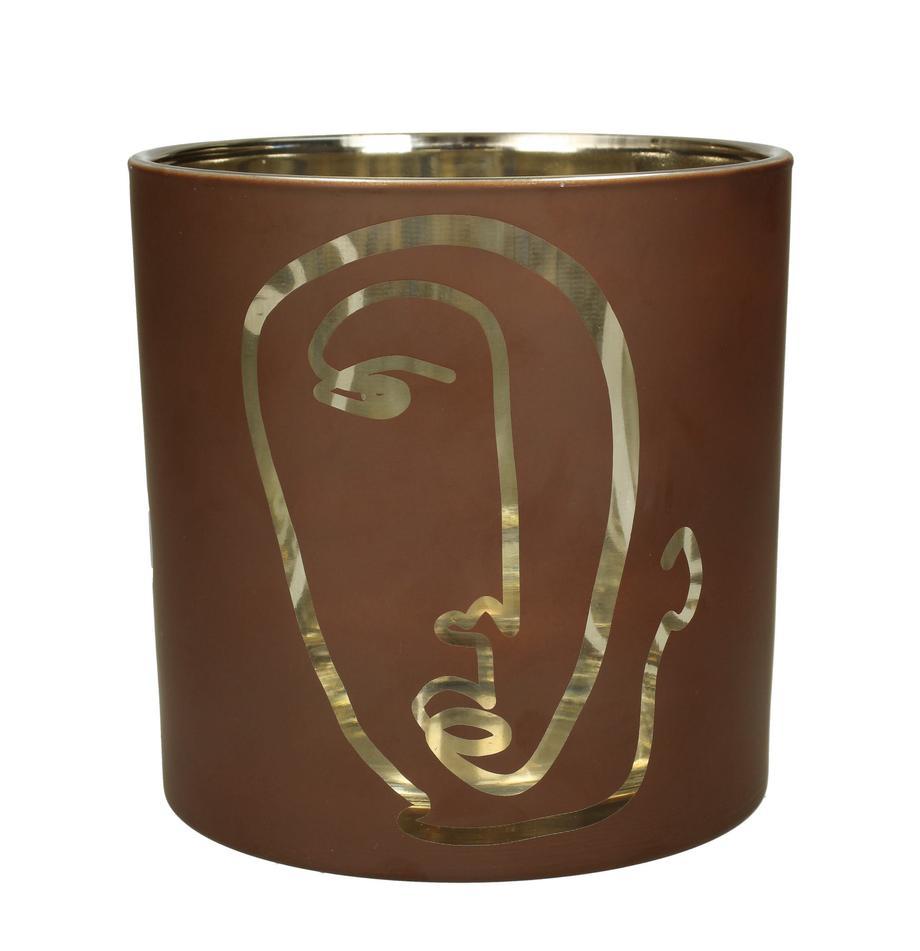 Windlicht Zircon, Glas, beschichtet, Braun, Goldfarben, Ø 15 x H 15 cm