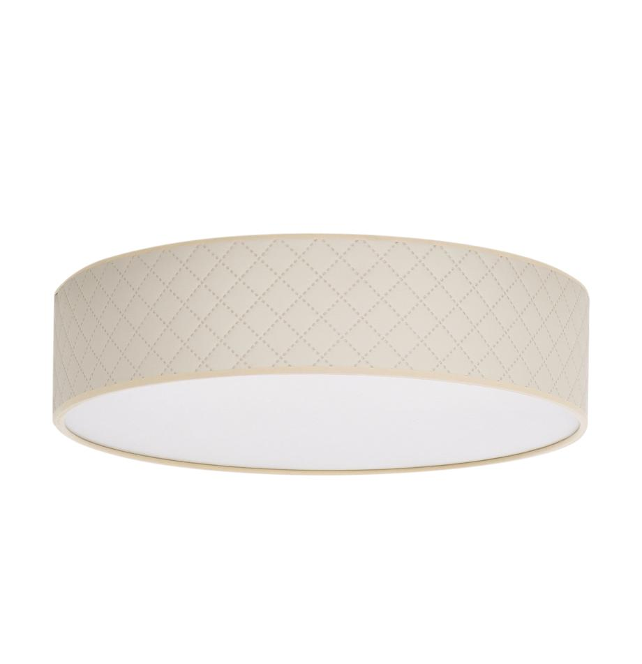 Lampa sufitowa ze sztucznej skóry Trece, Kremowy, Ø 40 x W 11 cm
