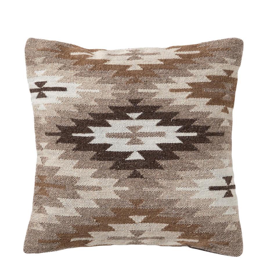 Poszewka na poduszkę z wełny Dilan, 80% wełna, 20% bawełna, Odcienie brązowego, beżowy, S 45 x D 45 cm