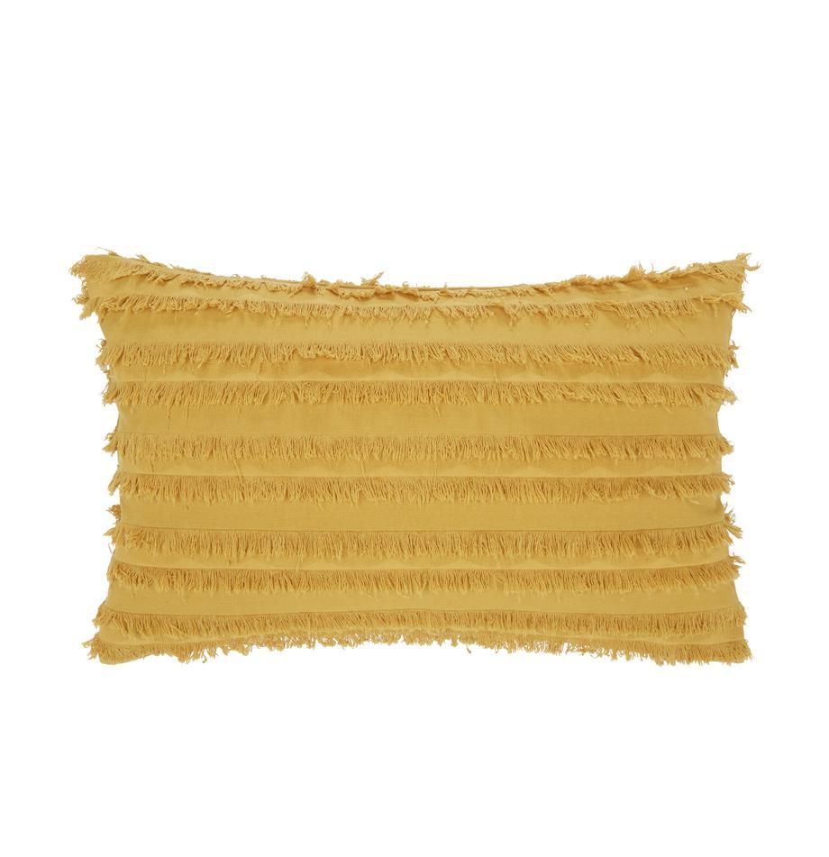 Kissenhülle Jessie in Gelb mit dekorativen Fransen, 88% Baumwolle, 7% Viskose, 5% Leinen, Gelb, 30 x 50 cm