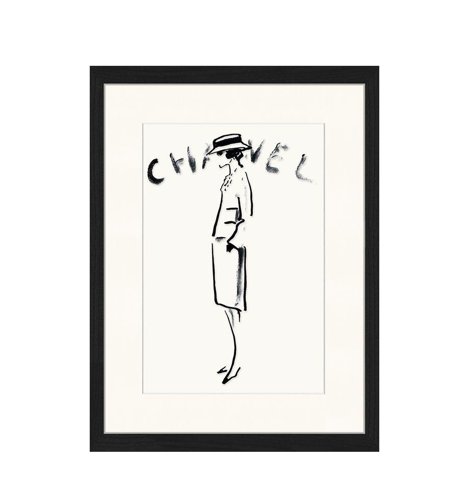 Gerahmter Digitaldruck Chanel, Bild: Digitaldruck auf Papier, , Rahmen: Holz, lackiert, Front: Plexiglas, Schwarz, Weiß, 33 x 43 cm
