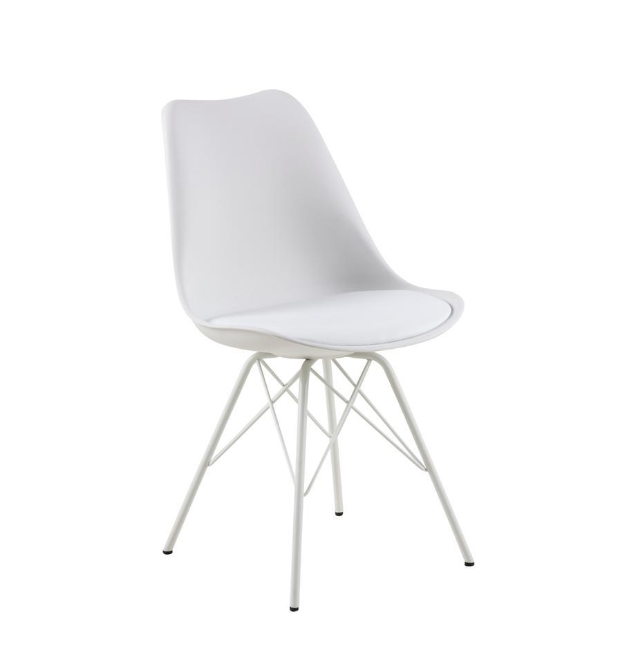 Sedia in materiale sintetico Eris 2 pz, Seduta: materiale sintetico, Gambe: metallo verniciato a polv, Bianco, Larg. 49 x Prof. 54 cm