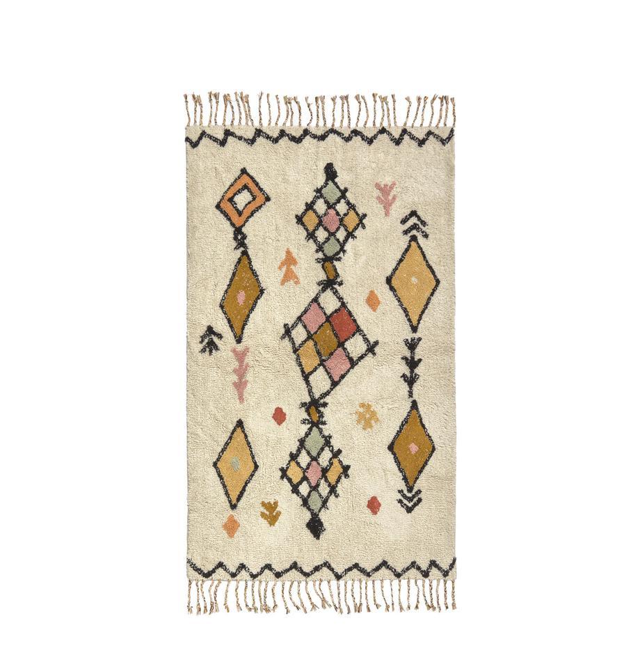 Dywan z frędzlami Bereber, 100% bawełna, Odcienie kremowego, wielobarwny, S 90 x D 150 cm (Rozmiar XS)