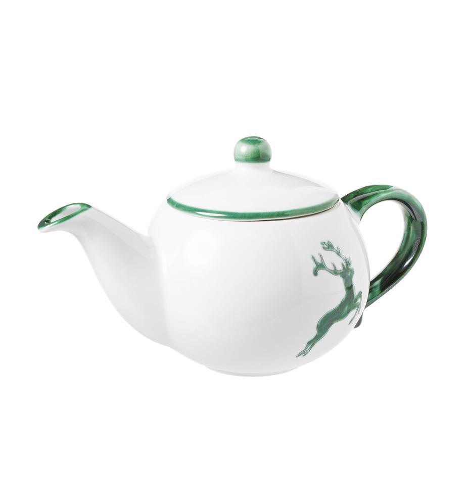 Ręcznie malowany czajnik Classic Grüner Hirsch, 500 ml, Ceramika, Zielony, biały, 500 ml