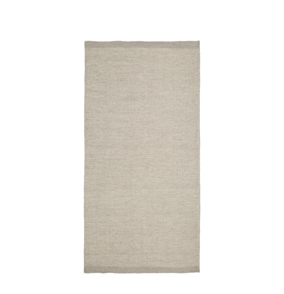 Handgewebter Kelimteppich Delight aus Wolle in Hellgrau, Hellgrau, B 70 x L 140 cm (Grösse XS)