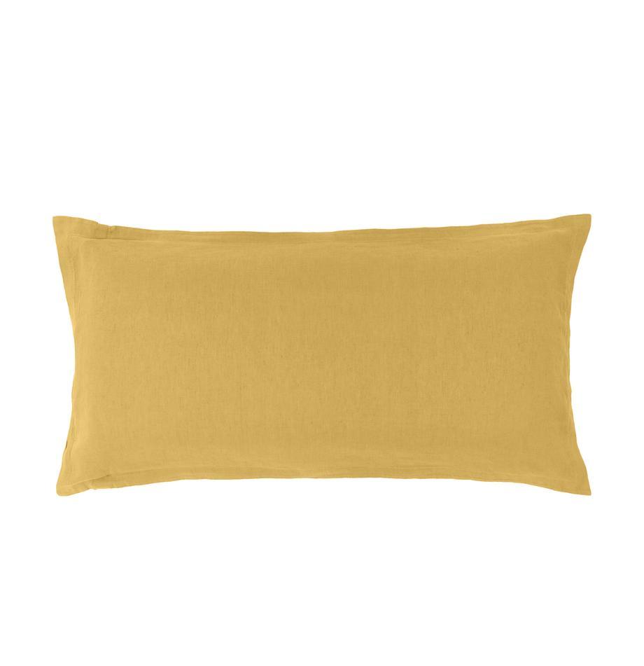 Poszewka na poduszkę z lnu z efektem sprania Nature, 2 szt., Musztardowy, S 40 x D 80 cm