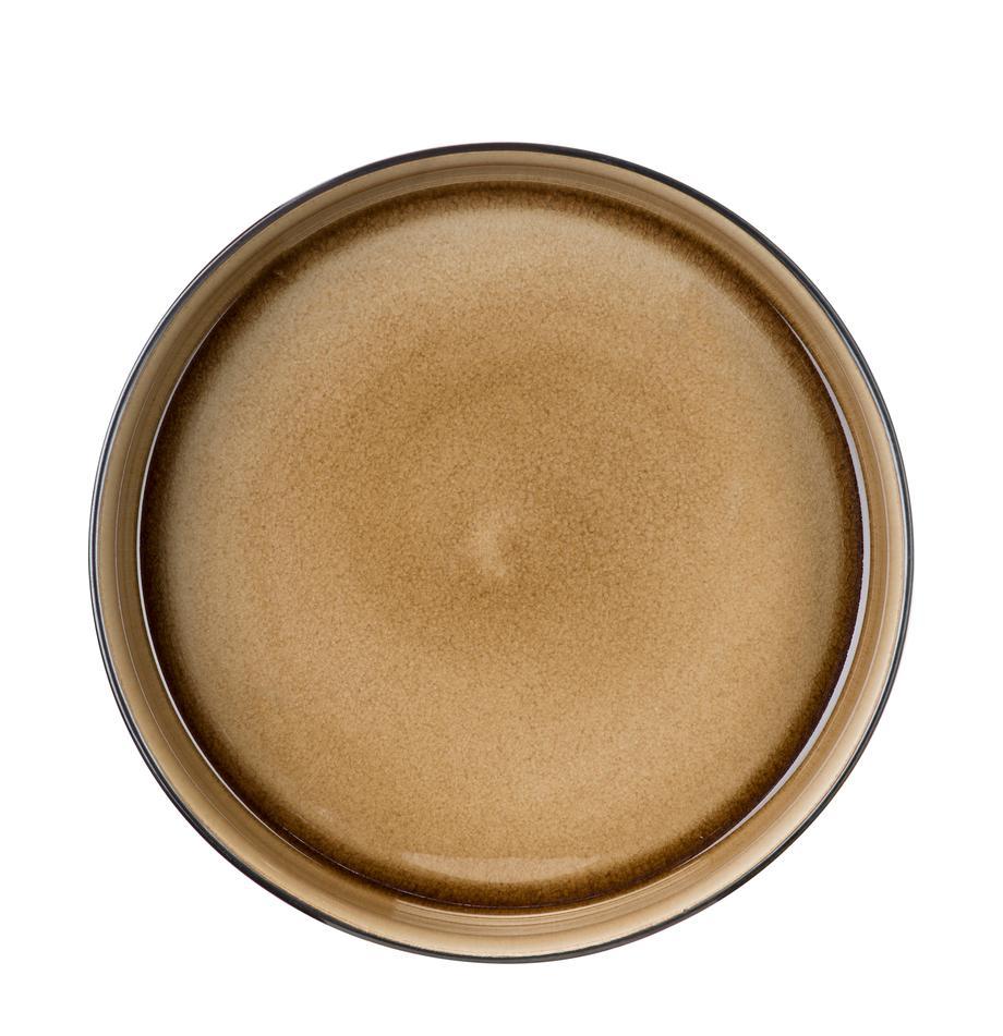 Soepborden Quintana, 2 stuks, Porselein, Amberkleurig, bruin, blauw, Ø 23 cm