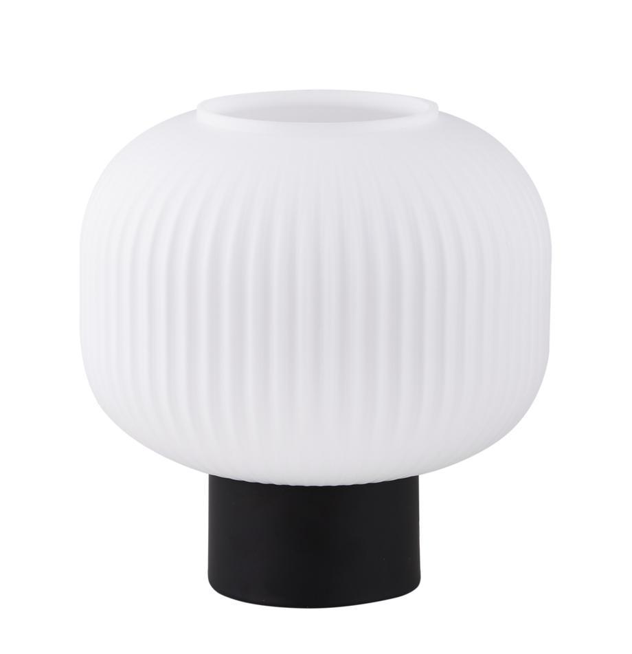 Lámpara de mesa pequeña de vidrio opalino Milford, Pantalla: vidrio opalino, Cable: cubierto en tela, Negro, blanco opalino, Ø 20 x Al 20 cm